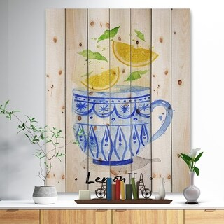 'Teacup lemon tea' Food Painting Print on Natural Pine Wood - Blue
