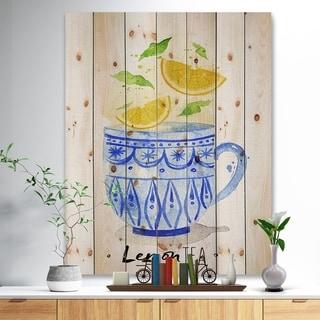 Designart 'Teacup lemon tea' Food Painting Print on Natural Pine Wood - Blue