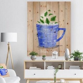 Designart 'Teacup mint tea kraft' Food Painting Print on Natural Pine Wood - Blue