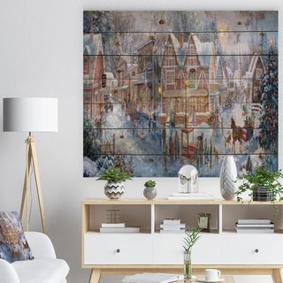 Designart 'Winter Christmas Shopping in snowy cottage with sleigh' Print on Natural Pine Wood - White