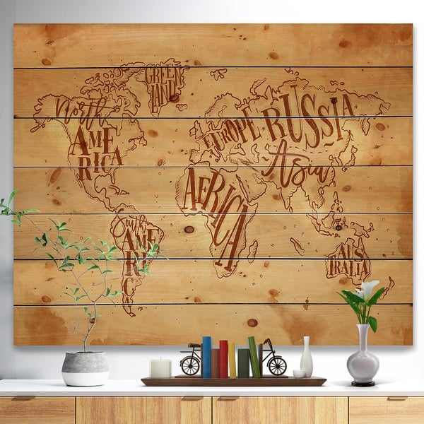 Designart 'Vintage Worldmap in Chalk Background' Maps Painting Print on Natural Pine Wood - Brown