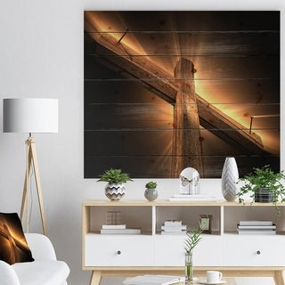 Designart 'Wooden cross' Religious Contemporary Print on Natural Pine Wood - Black