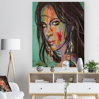 Designart 'Woman Portrait Be Careful' Glamour Painting Print on Natural Pine Wood - Multi-color
