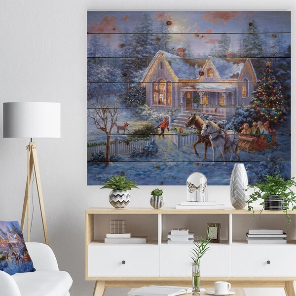 Shop Designart Christmas Eve Family Coming Home In Sleigh Print On