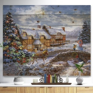 Designart 'Christmas Tree with horse and open sleigh in winter landscape' Print on Natural Pine Wood - Red