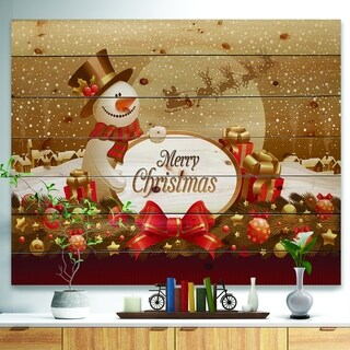 'Christmas Sowman on Gold with Flying Reindeer' Print on Natural Pine Wood - yellow & gold