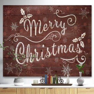 Designart 'Merry Christmas Season Greetings on Red' Print on Natural Pine Wood - Red