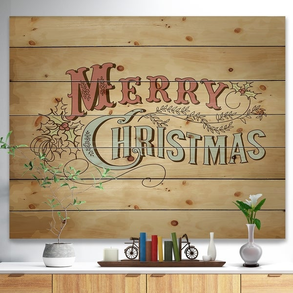 Designart 'Merry Christmas Vintage Wish in Western Font' Print on Natural Pine Wood - Red