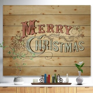 'Merry Christmas Vintage Wish in Western Font' Print on Natural Pine Wood - Red