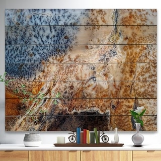 Designart 'China Moss Agate' Stone Photographic Print on Natural Pine Wood - Brown