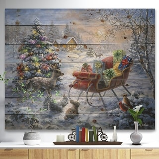 Designart 'Christmas Tree Magic Winter scene with Presents in Sleigh' Print on Natural Pine Wood - Red