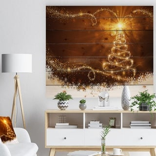 'Golden Christal Tree Star on White Snow Flakes' Print on Natural Pine Wood - yellow & gold
