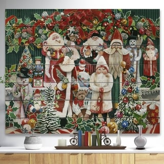Designart 'Santa Claus Family with Christmas bear and presents' Print on Natural Pine Wood - Red