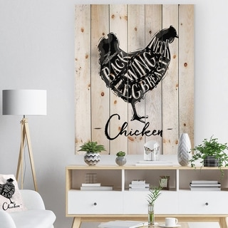 Designart 'Chicken cutting scheme' Farmhouse Animal Painting Print on Natural Pine Wood - White