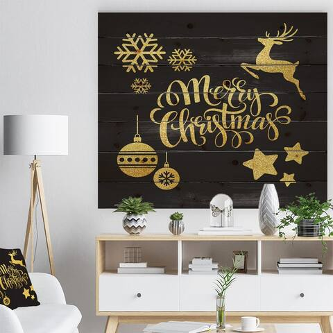 Designart 'Handwritten Merry Christmas wish with Reindeer, Star, Christmas Tree Balls' Print on Natural Pine Wood - Black