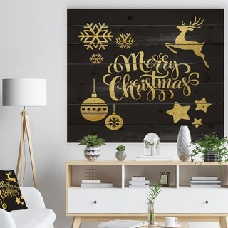 Designart 'Handwritten Merry Christmas wish with Reindeer, Star, Christmas Tree Balls' Print on Natural Pine Wood - Black