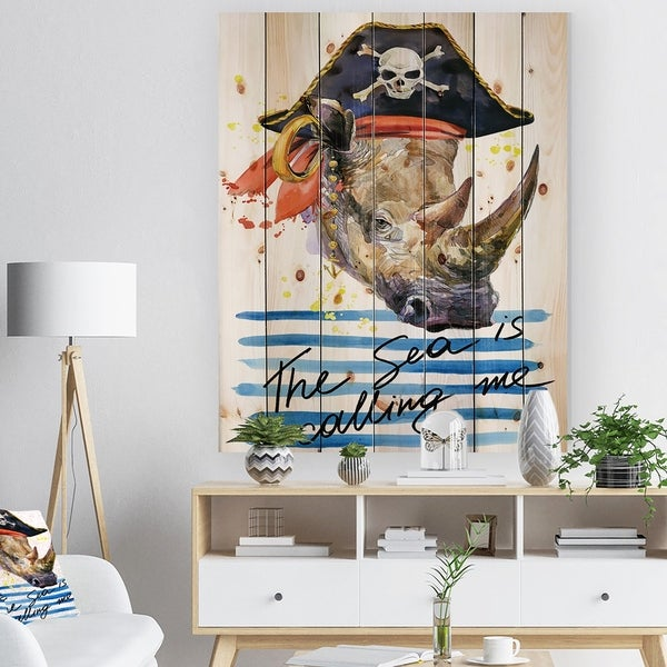 Designart 'Pirate animal in hat The Sea is Calling Me' Animals Sea & Shore Print on Natural Pine Wood - White