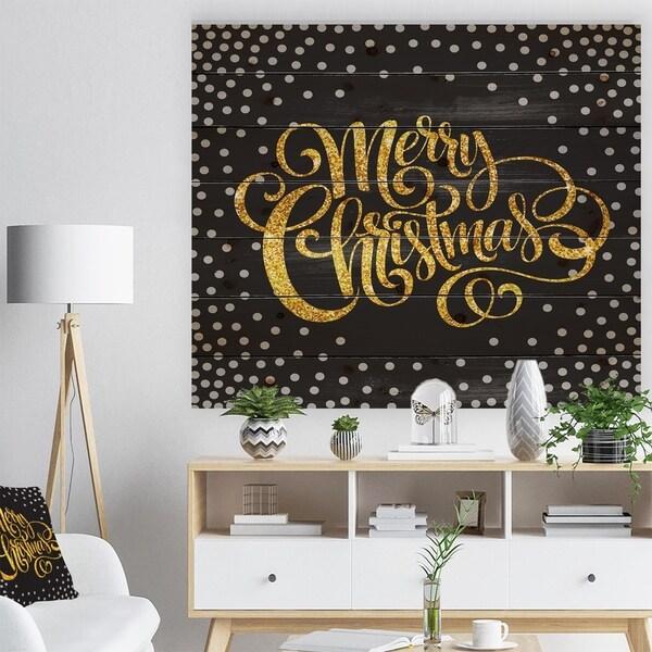 Designart 'Handwritten Merry Christmas wish with Polka Snow Flakes' Print on Natural Pine Wood - Black