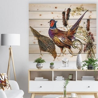 Designart 'Bird pheasant watercolor illustration' Farmhouse Animal Painting Print on Natural Pine Wood - White