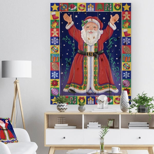 Designart 'Happy Santa Claus Christmas Wish' Print on Natural Pine Wood - Red