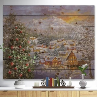 'Christmas Winter Mountain Town With Christmas Tree' Print on Natural Pine Wood - Red
