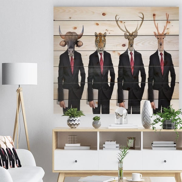 Designart 'Animals in Americana Suit' Animals photography Print on Natural Pine Wood - White