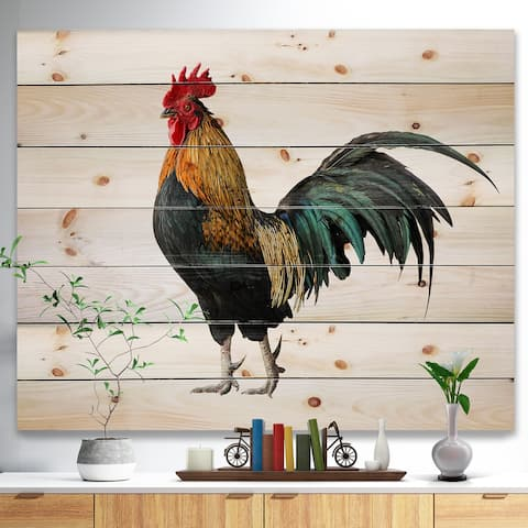 Designart 'chicken rooster' Farmhouse Animals of Painting Print on Natural Pine Wood - White