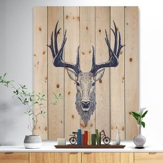 Designart 'Deer head Portrait' Sketch Animals Painting Print on Natural Pine Wood - Brown