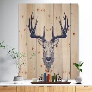 'Deer head Portrait' Sketch Animals Painting Print on Natural Pine Wood - Brown