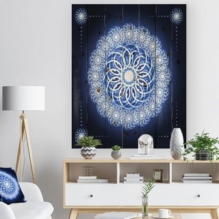Designart 'Abstract fractal flower in Blue Background' Digital Art Print on Natural Pine Wood