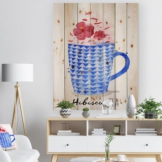 Designart 'Teacup red tea' Food Painting Print on Natural Pine Wood - Blue