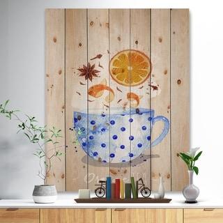 Designart 'Teacup orange tea kraft' Food Painting Print on Natural Pine Wood - Blue