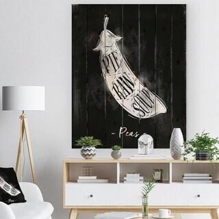 Designart 'Peas cutting scheme chalk' Farmhouse Food Painting Print on Natural Pine Wood - Black