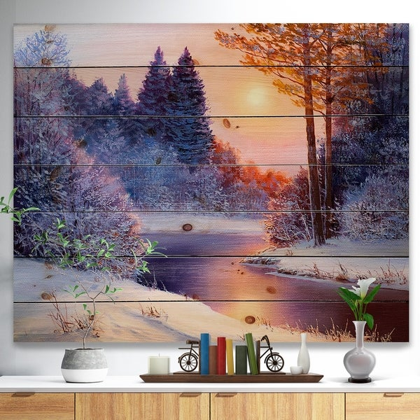 Designart 'Christmas forest with river' Landscapes Painting Print on Natural Pine Wood - White