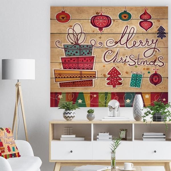 Designart 'Chrismas presents with christmas tree balls' Print on Natural Pine Wood - Red