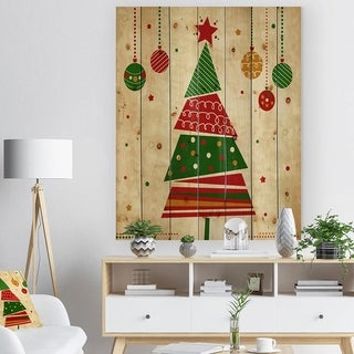 Designart 'Deconstructed Abstract red and green Christmas Tree' Print on Natural Pine Wood