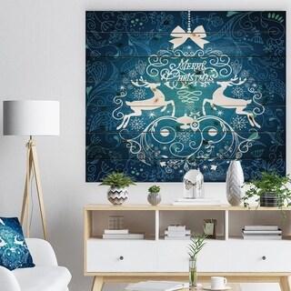 Designart 'Blue Merry Christmas Reindeer Snow Crystal Pattern' Print on Natural Pine Wood - Blue