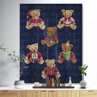 Designart 'Happy Holidays Christmas Bears' Print on Natural Pine Wood - Red
