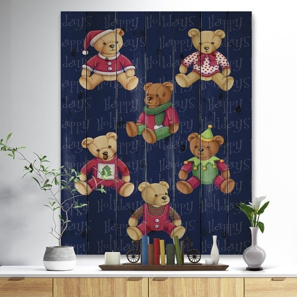 Designart 'Happy Holidays Christmas Bears' Print on Natural Pine Wood - Red