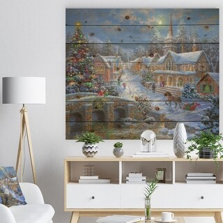 'Christmas Paradise with church snow and open sleigh' Print on Natural Pine Wood - Orange