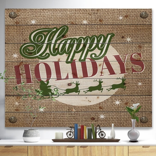 Designart 'Happy Holidays Christmas Wish on Burlap' Print on Natural Pine Wood - Green