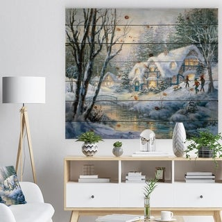 Designart 'Christmas evening Winter Frolic' Print on Natural Pine Wood - Green