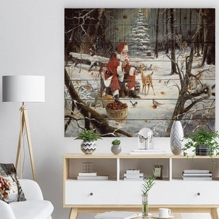 'Santa Claus with deer in snowy woods' Print on Natural Pine Wood - White