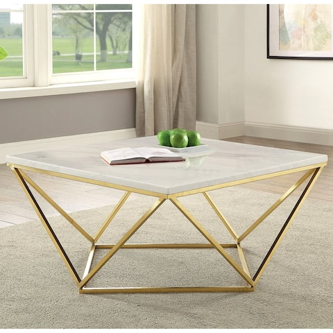 Modern Gold Geometric Design Coffee Table with White Carrera Marble-like Top