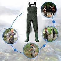 Waterproof Stocking Foot Comfortable Chest Wader For Outdoor Hunting Fishing - Army Green