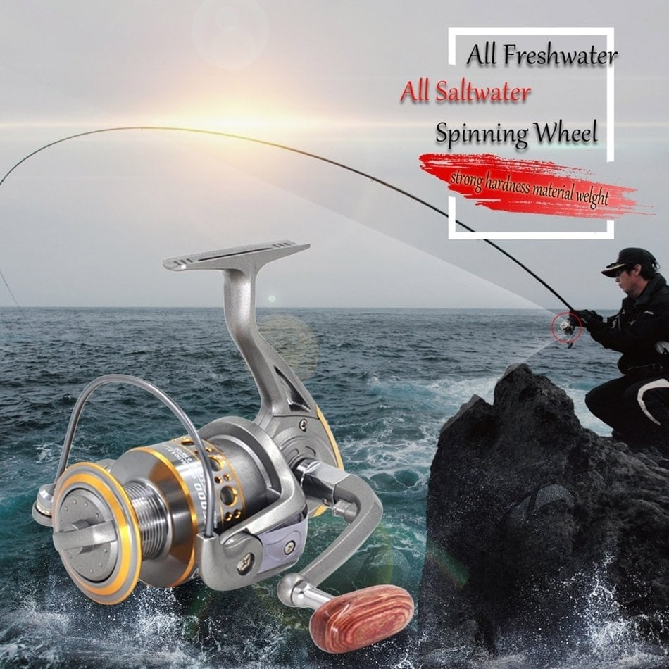 DC6000 13 Shaft Metal Head Fishing Vessels Aluminum Alloy Spool Spinning Reels – Silver