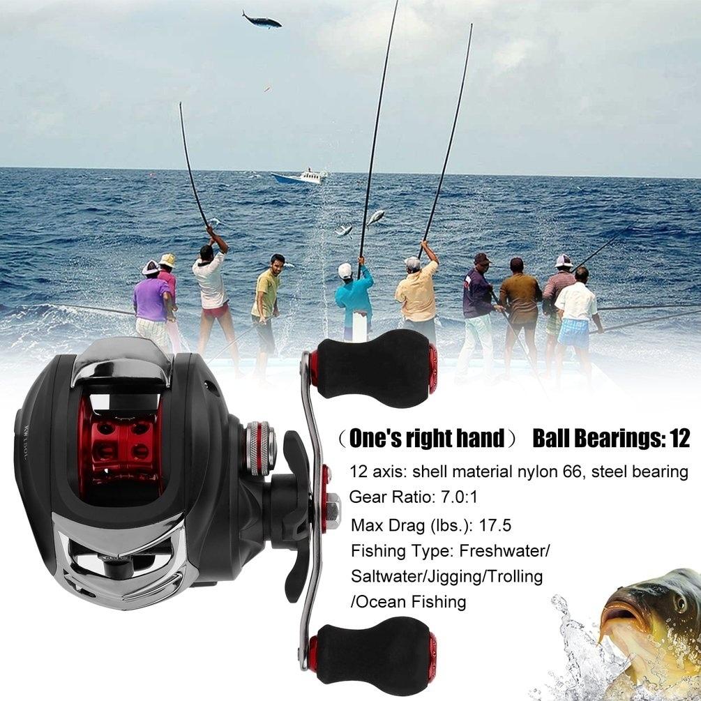 12BBS Ball Bearings Baitcasting Fishing Reel 6.3:1 Gear Ratio Fishing Wheel - Black thumbnail