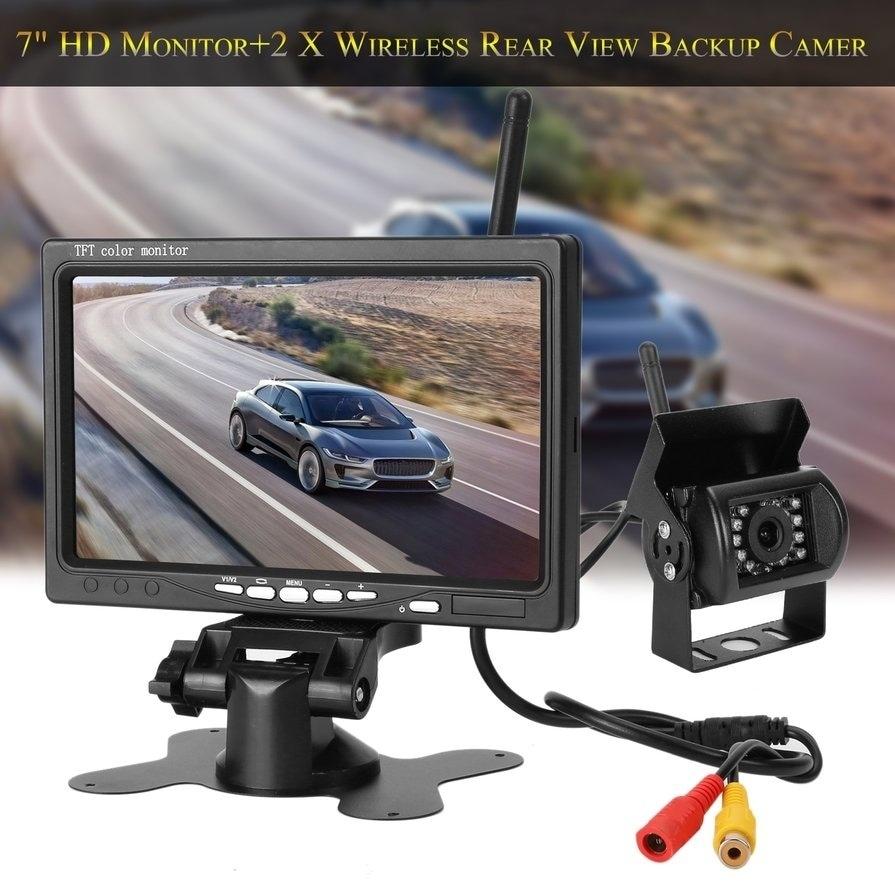 "7/"" TFT LCD Mirror Monitor /& Wireless Backup Camera Night Vision Rear View System"
