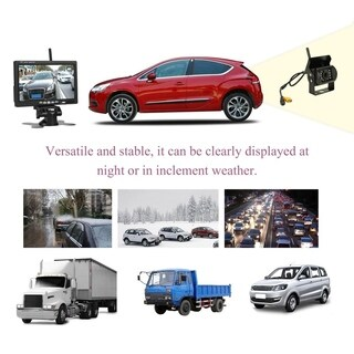Wireless Car Rear View Backup Camera 2.4GHz 7 inch HD Monitor IR Night Vision