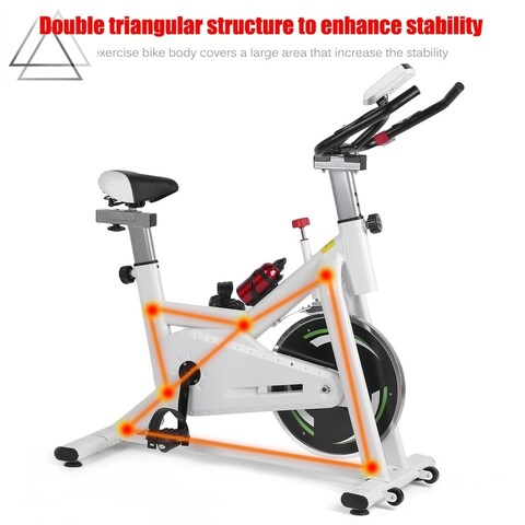 868 Pedal Exercise Bicycle Indoor Cycle Adult Fitness Bike With LED Display - White